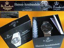 Herrenuhr von St.Leonhard hochwertiges Quarz-Uhrwerk Edelstahlgehäuse NEU in OVP