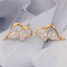 Classic 9K Two Tone Gold Filled Clear CZ Women's Heart Stud Earrings,14ER0706