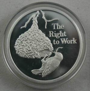 ZAMBIA 500 Kwacha 1994 Silver Proof Masked Weaver Bird