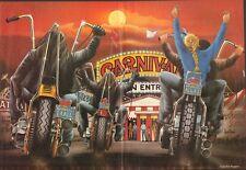 "1987 Vintage David Mann ""Carnival"" 16 x 20 Matted Biker Motorcycle Art Poster"