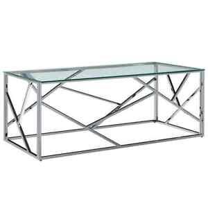 vidaXL Table Basse 120x60x40 cm Verre Trempé et Acier Inoxydable Salon Maison
