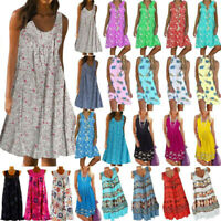 Womens Summer Boho Floral Sleeveless Midi Dress Loose Holiday Sundress Plus Size