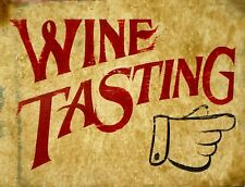 "TIN SIGN ""Wine Tasting"" Retail Deco Garage Wall Decor"