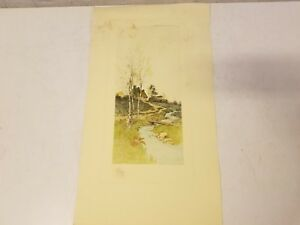Vtg Possibly Antique Landscape Water Mill Connected to the Creek Colored Print