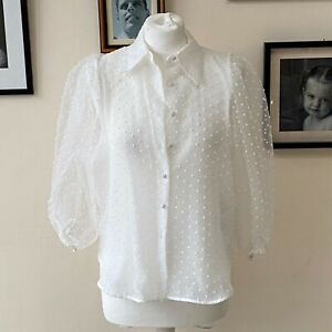 Zara Sheer White Polka Dot Shirt S