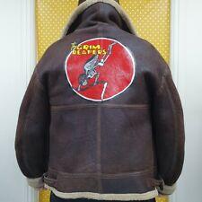 Vtg Leather B3 sheepskin Nose Art Brown shearling bomber flight pilot jacket XL
