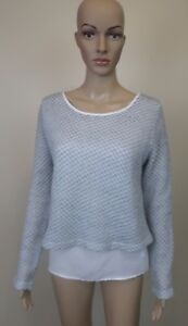 Womens TEMT 2 Piece Grey White Knit Lightweight Cardigan Top Mid Length - Size L