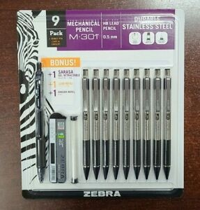 9 Zebra M-301 Stainless Steel Mechanical Pencil 0.5mm lead eraser matches F-301