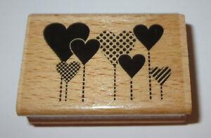 "Heart Flower Garden Rubber Stamp Hearts Love Hampton Art Wood Mounted 2 1/4"" L"