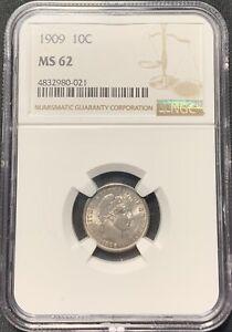 1909 10c Barber Dime NGC MS-62