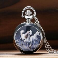 Silver White Horse Womens Mens Quartz Pocket Watch Pendant Necklace Chain Gifts