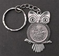 1966 52nd birthday sixpence Owl pendant charm keyring a gift box World Cup Queen