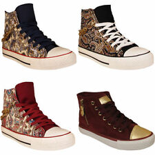Faux Suede Lace Up Floral Trainers for Women