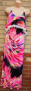 ANEL BRIGHT PINK FLORAL STRAPPY LAYER RUFFLE LYCRA LONG MAXI SUMMER DRESS 8 10 S