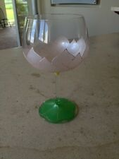 """Smithereens Hand Painted and Signed 7.5"""" Lotus Flower Glass Excellent Condition"""