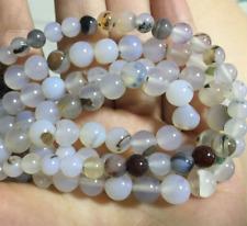 "6mm Natural White agate beads Gemstones Round Jade Loose Bead 15""'AAA"
