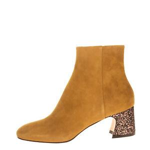 RRP €600 BENEDETTA BOROLI Leather Ankle Boots Size 36.5 UK 3.5 US 6.5 Flare Heel