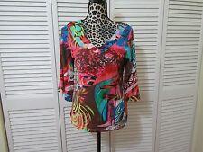 Zoe D Top,Petite, PM,Multi color contemporary print, 3/4 sleeves, v neck