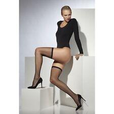 Black Lattice Net Hold Ups Stockings Ladies Womens Fancy Dress Accessory Hosiery