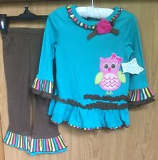 New With Tags Baby Girl 12 Month Owl Long Sleeve and Pant Set