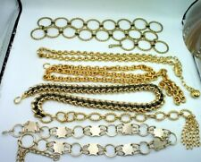 Vintage 60s - 90s Lot of 5 Gold Tone Chain Ladies Belts