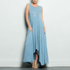 Women Elegant Sleeveless Party Casual Drape Loose Abaya Maxi Long Shirt Dress