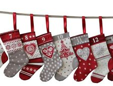 Scandi Christmas Mini Stockings Advent Calendar Fabric Cut & Sew Craft - PANEL