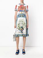 NWT $2275 DOLCE & GABBANA  Majolica Vase Floral print silk dress 38/40 IT