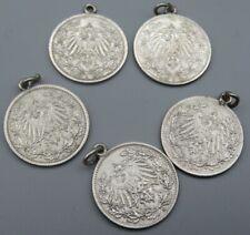 5 alte Silber Charivari Anhänger 1914 Deutsches Reich 1/2 Mark