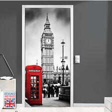 London Big Ban Red Telephone Door Mural 90cm Width Art Self-adhesive Stickers