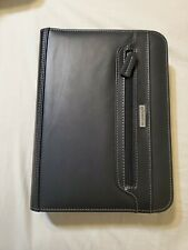 Vintage Franklin Covey Black Leather Look Zip Around 7 Ring Planner 8x10