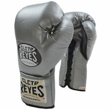 Cleto Reyes Official Lace Up Competition Boxing Gloves - Silver