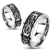 Men's Women's Stainless Steel Centre Black IP Casted Tribal Band Ring