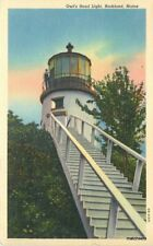 1946 Owl's Head Light Rockland Maine linen Teich postcard 10000