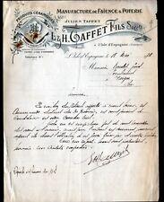 """L'ISLE D'ESPAGNAC (16) USINE de FAIENCE POTERIE CERAMIQUE """"Julien TAFFET"""" en1928"""