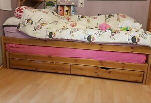 💖Massiv Holz Bett, Auszieh/Gästebett, 200x90, 180x90, 2 Einzelbetten