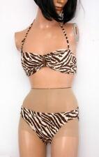 Michael Kors Mini Bandeau  Bikini Set Walnut Animal Print Size Small