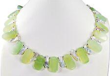 Schöne Edelsteinkette aus Flower-Jade in Stäbchenform mit Biwaperlen