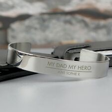 Personalised Stainless Steel Bangle Fathers Day Gift Ideas for Him Men P0103B17