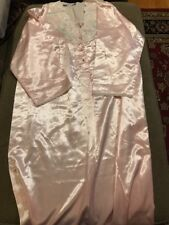 Vintage Etienne blush pink satin Look nightgown dress gown lingerie Small (SC)