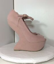Privileged Women's Sz 6 M Dexter Pale Blush Pink Platform Wedge Heel Less Pumps
