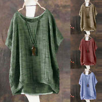 Vintage Womens Ladies Casual Long Sleeve Baggy Asymmetrical T-Shirt Tops Blouse