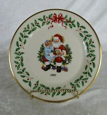 Lenox Annual Holiday Collector's Plate 1997 little girl sitting on Santa's lap