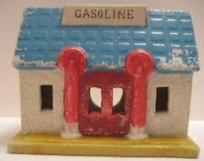 "Antique Bisque Toy Gasoline Station 4 5/8"" Christmas Village Bld Japan 1930s-50s"