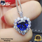 Fashion Heart 925 Silver Necklace Pendant For Women Blue Sapphire Jewelry
