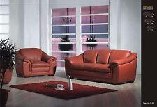Design Voll-Leder-Sofa-Ledergarnitur-Polstermöbel-Sessel Sofagarnitur 403-3+2+1