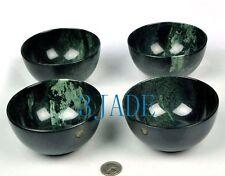 4pcs Hand Carved Natural Black Green Jade / Serpentine Stone Bowls
