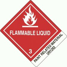 """Flammable liquid- Paint Related Material UN1263 """"4x5"""" (ROLL OF 500) GC LABELS"""