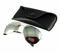 Aviator Sunglasses SILVER MIRROR Lens Metal Frame Mens/ Womans FREE CASE