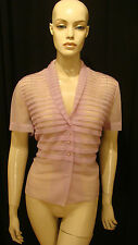 40s VINTAGE LILAC SEXY SHEER NYLON PIN UP BLOUSE w WIDE PLEATS RHINESTONES XL